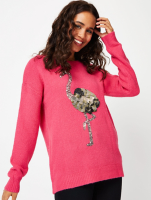 Pink Sequinned Flamingo Jumper