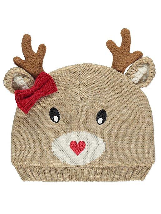 Reindeer Knitted Fleece Lined Christmas Hat. Reset 8eb2e09b64df