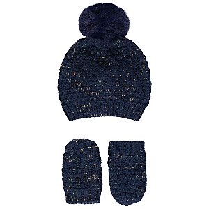 a96854b1a4c Navy Faux-Fur Pom-Pom Bobble Hat and Mittens Set