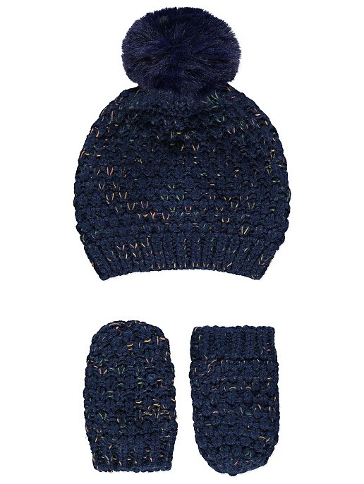 Navy Faux-Fur Pom-Pom Bobble Hat and Mittens Set. Reset 0ee59432f7f