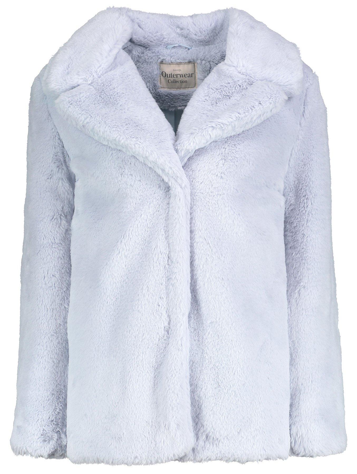 4eb6083d1 Light Blue Faux Fur Coat