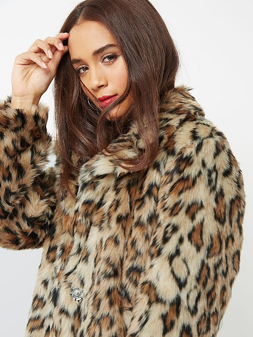 Brown Leopard Print Faux-Fur Coat. Reset 4faf7a853