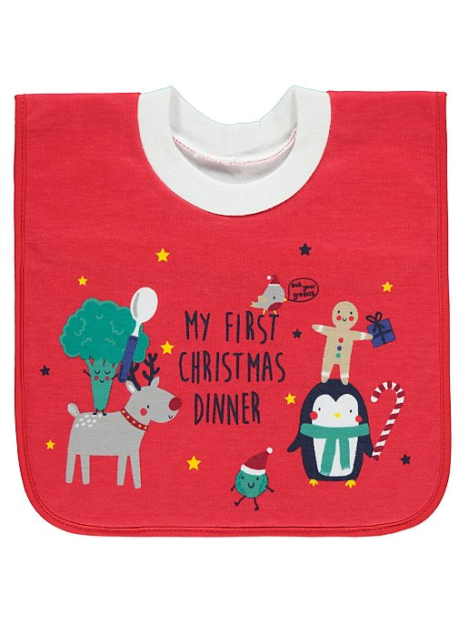 9051f665b My First Christmas Dinner Red Bib | Baby | George