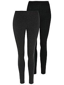 2a1eabda240 Black and Marl Grey Leggings 2 Pack