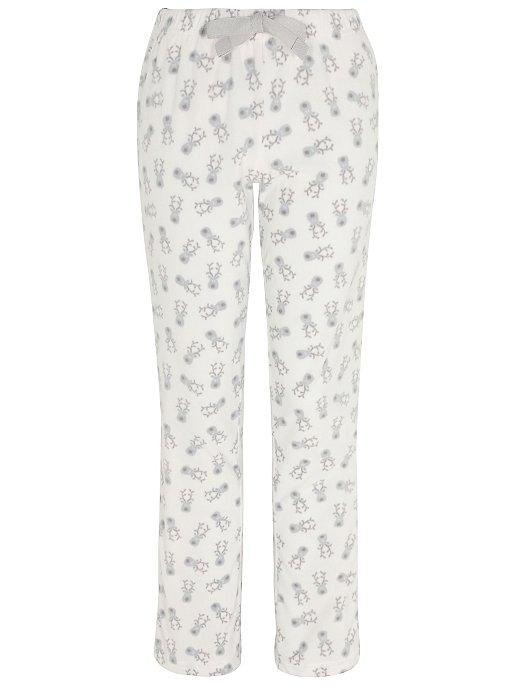 e4c7d4c644 Cream Fleece Reindeer Christmas Pyjama Bottoms. Reset