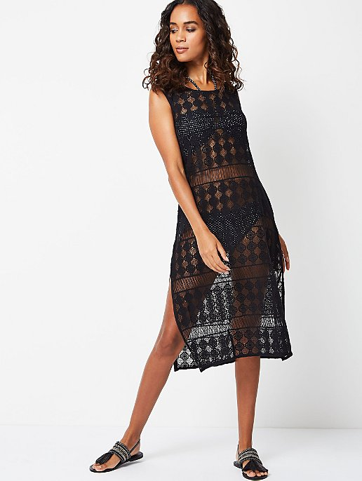 Black Crochet Cover Up Dress Women George
