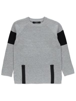 Grey Textured Knit Jumper