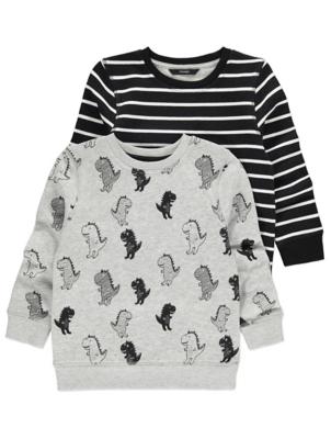 Dinosaur Monochrome Sweatshirts 2 Pack