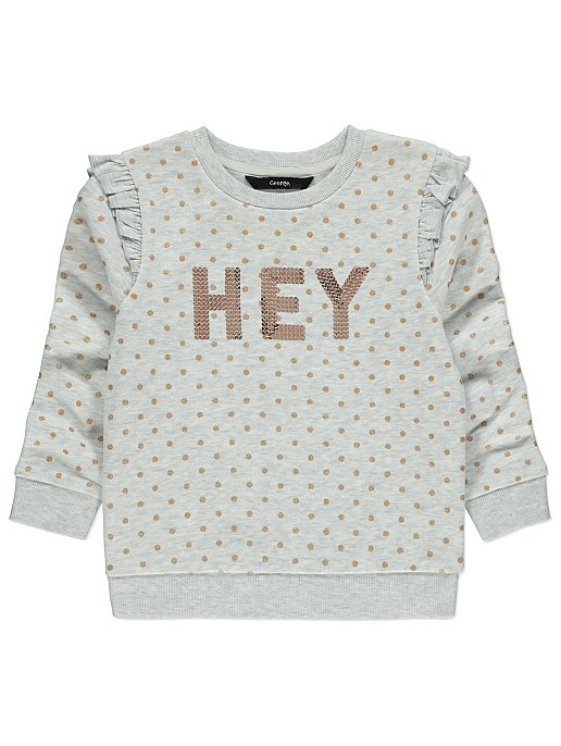 ef5cb35a Grey Polka Dot Slogan Sweatshirt   Kids   George
