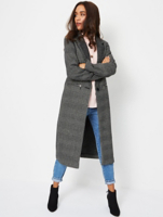 Grey Checked Longline Formal Coat by Asda