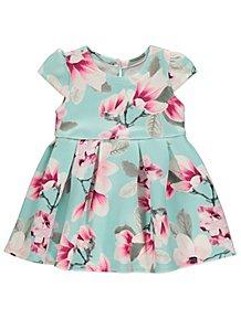 aca32655bf5a Blue Floral Print Scuba Dress