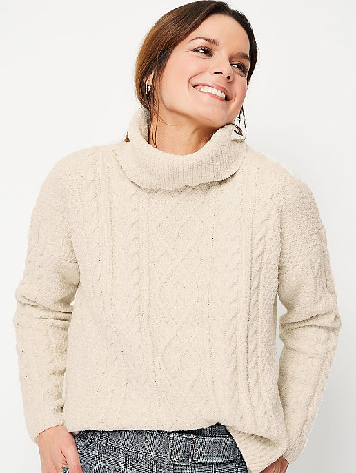 f2c8358f5d1 Cream Roll Neck Cable Knitted Jumper | Women | George