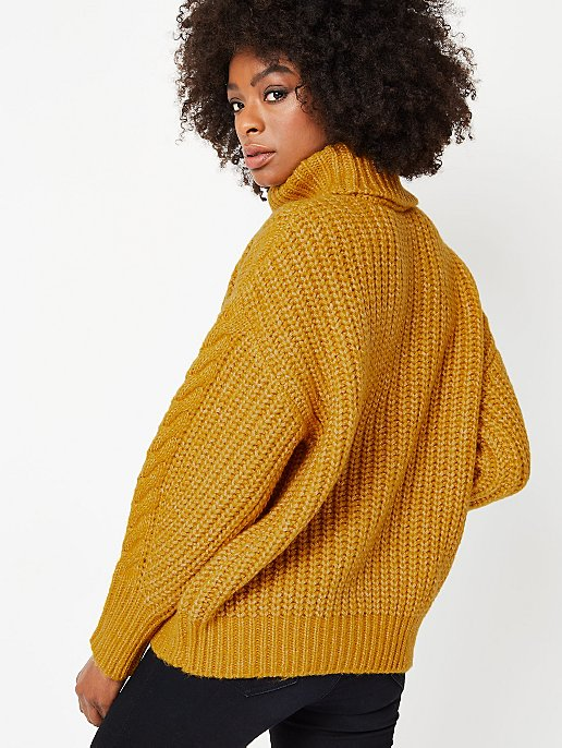 19b62364ff0 Mustard Oversized Cable Knit Roll Neck Jumper