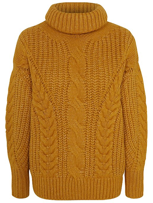 Cable Oversized George Roll Women Mustard Jumper Knit Neck 1650wAqn