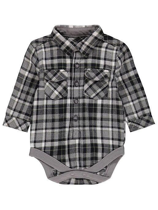 f8ceb788be02 Grey Check Shirt Long Sleeve Bodysuit