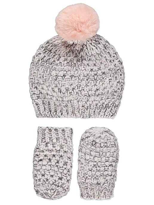 3561aefe573 Grey Knitted Hat and Mittens Set. Reset