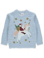 Blue Eyelash Santa Unicorn Christmas Jumper | Kids | George