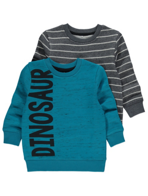 Assorted Dinosaur Slogan Sweatshirts 2 Pack