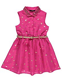 Pink Belted Sequin Collar Dress