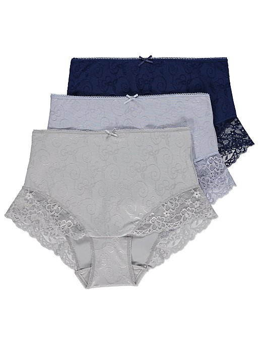 30a5c624bfb26 Lace Trim Swirl Texture Full Briefs 3 Pack | Women | George
