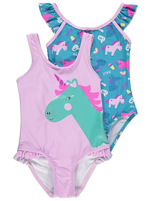5dfe3f3547 Unicorn and Dinosaur Print Swimsuits 2 Pack
