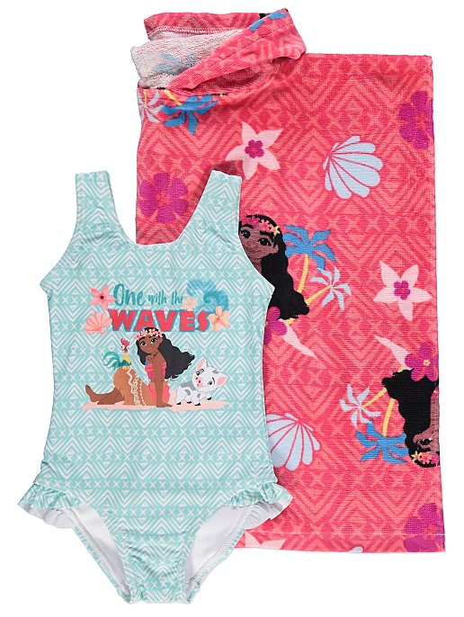 7799d013af917 Disney Moana Hooded Towel Poncho Swimsuit Set | Kids | George