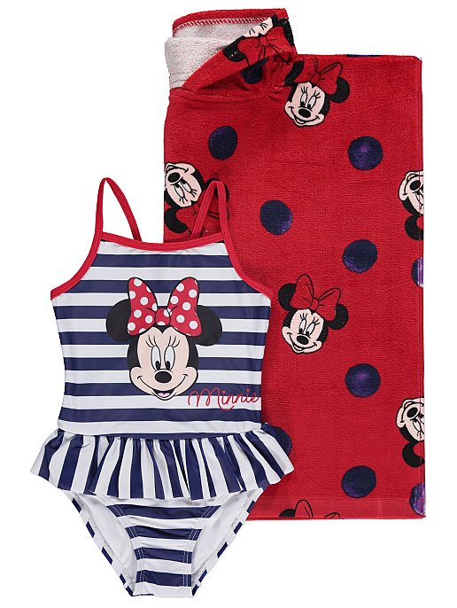 0e8d893400 Disney Minnie Mouse Hooded Towel Poncho and Swimsuit Set | Kids | George