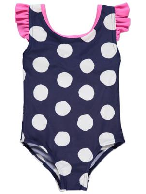 Navy Polka Dot Frilled Swimsuit