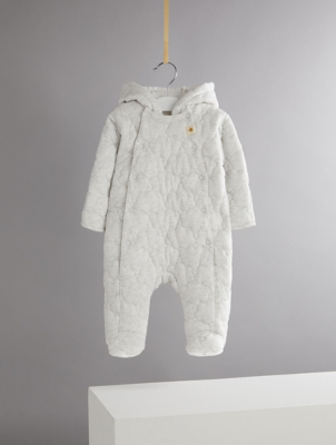 Billie Faiers Grey Marl Cloud Embroidered Padded Hooded Snowsuit
