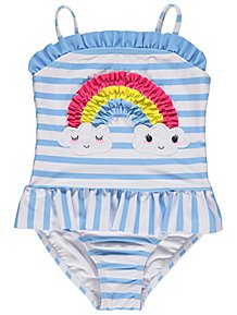 Blue Striped Rainbow Frilly Skirted Swimsuit e73395eb5