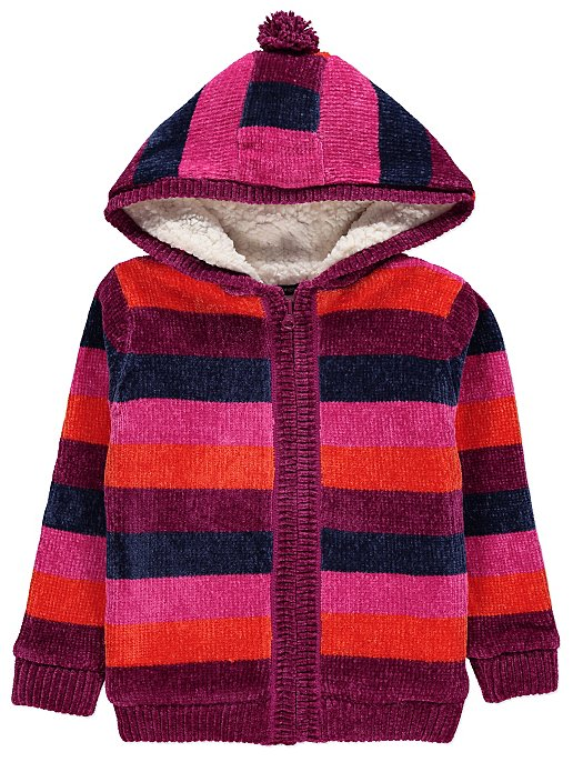 77835372594 Chenille Stripe Borg Hooded Jacket