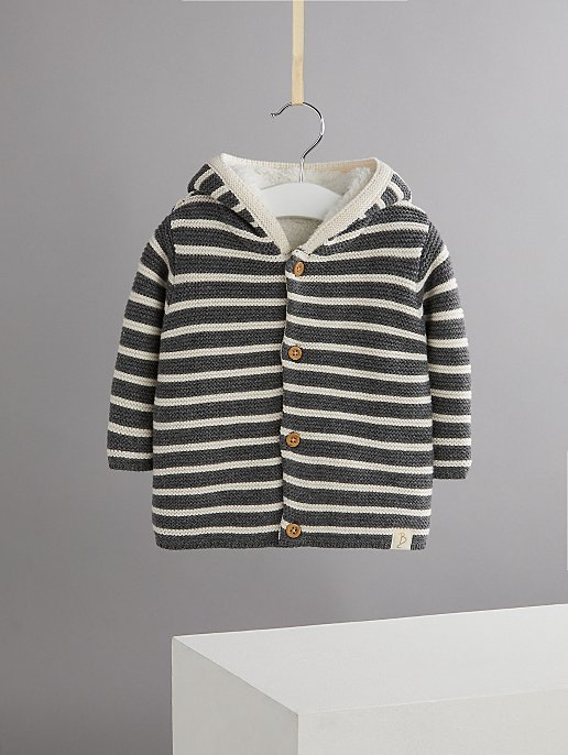 4a7085d64 Billie Faiers Charcoal Stripe Chunky Knit Borg Lined Hoodie
