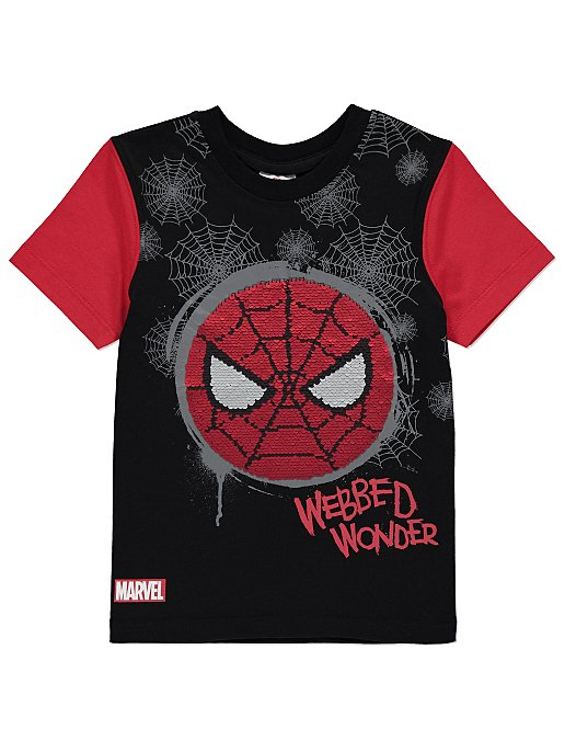 4243b363 Marvel Comics Spider-Man Swipe Sequin T-Shirt | Kids | George