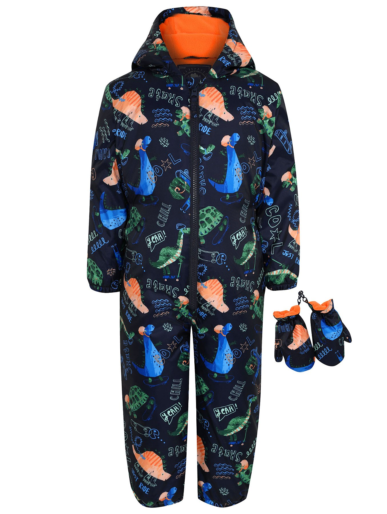 429cfd45a Navy Dinosaur Print Snowsuit and Mittens