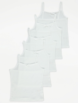 White Cami Vests 5 Pack