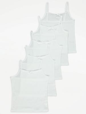 White Cami Vests 5 Pack