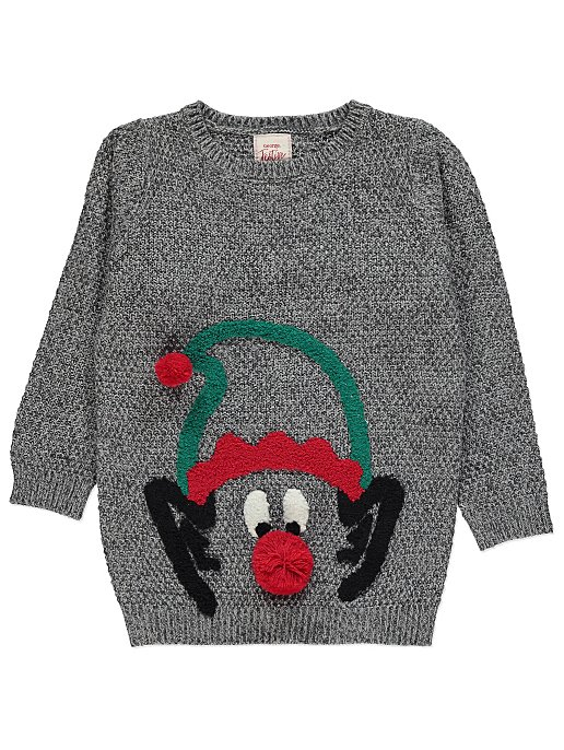 5b754a0ac Grey Textured Elf Christmas Jumper | Kids | George