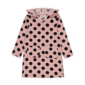 Pink Polka Dot Long Sleeve Towel Dress