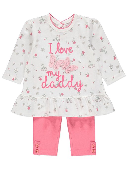 cdee50e65a377 Embellished Slogan Top and Leggings Outfit | Baby | George