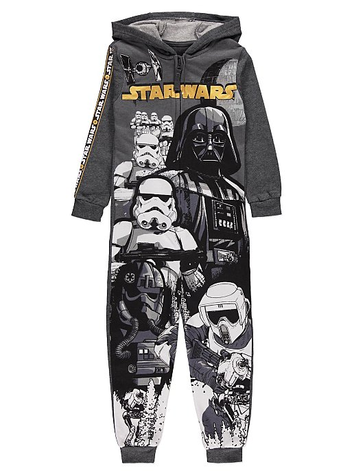 04184b569 Star Wars Darth Vader Grey Hooded Onesie | Kids | George
