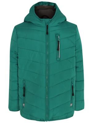 Dark Green Shower Resistant Hooded Padded Coat