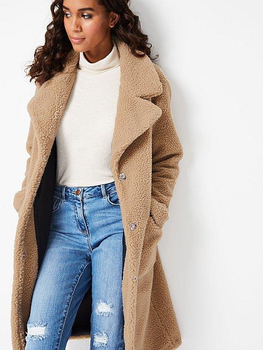buy sale best wholesaler free delivery Camel Longline Teddy Coat