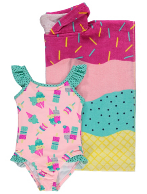Pink Ice Cream Swimsuit and Hooded Towel Set