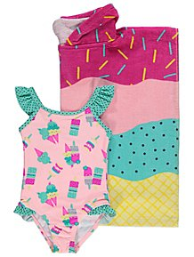 Pink Ice Cream Swimsuit and Hooded Towel Set 83624f4ab