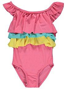 Print Frill Layer Trim Swimsuit 7cca25d58