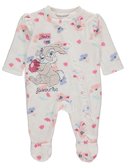 a1e8b5e5a Disney Bambi Thumper White Fleece Slogan Sleepsuit