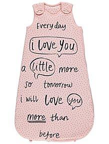 a0e67b10516e Pink Slogan 2.5 Tog Sleeping Bag