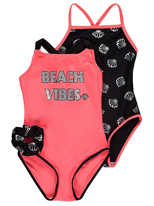 8f8fdcbbc1 Pink and Black Swimsuits and Hair Accessory 2 Pack | Kids | George