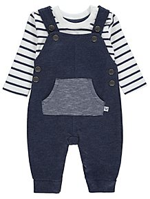 b0f5d8e281e Navy Stripe Print Dungarees and Top Outfit