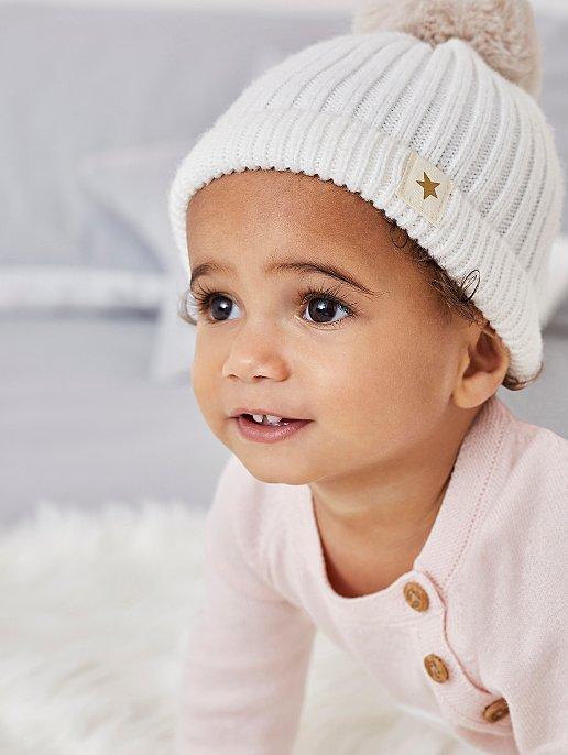 596abd2117e6f Billie Faiers Cream Rib Knit Faux-Fur Pom-Pom Bobble Hat | Baby | George